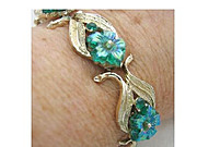 SALE Vintage Signed Coro Bracelet Iridescent Green Glass Flowers & Rhinestone Gold Tone