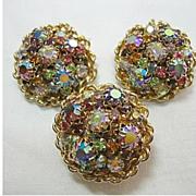 SALE Vintage Earrings & Dress Clip SET Colorful Fancy, Red, Blue, Pink Aurora Borealis ...