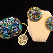 SALE Austrian Crystal Pin and Earrings Set