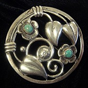 SALE Beautiful Old Mexican Sterling Brooch, with Turquoise