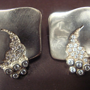 SALE Sterling and Cubic Zirconia Designer Earrings