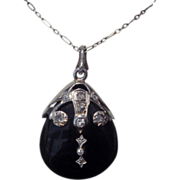 SALE Victorian Mourning Pendant - Diamond and Black Onyx