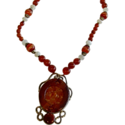 SALE Neva Burba Carnelian, Sardonyx, & Moonstone Pendant Necklace