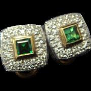 SALE Sophisticated Tsavorite and Diamond Earrings in 14K Gold