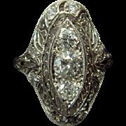 SALE Exquisite Art Deco Diamond Ring in Platinum and 14k Gold