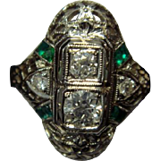 SALE Lovely 18K Art Deco Diamond Dinner Ring with Emeralds