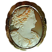 Beautifully Carved Large Shell Cameo, 14K Mount - 19th Century