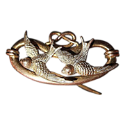 Victorian Brooch - Two Swallows and the Love Knot Heart - 9 Ct