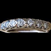 Victorian Diamond Half Hoop Ring - 14K Gold and Platinum