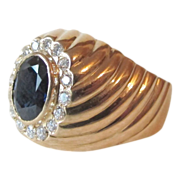 Sapphire and Diamond Ring - 18K Gold - Superb