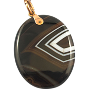 Large Banded Agate Pendant .375 - Victorian