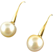 Fine South Sea Pearl Earrings - 14mm - 14K Gold