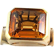 CARTIER 12.50 Ct Citrine Ring, 18K Yellow Gold