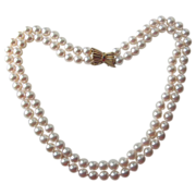 Akoya Pearls - Fine Cultured Japanese Double Strand with 14K Gold Clasp