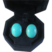 Persian Turquoise Earrings, 14K Yellow Gold