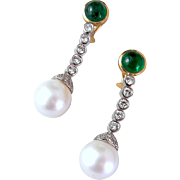 Exquisite Emerald, Diamond and South Sea Pearl Earrings -18K