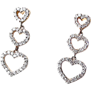 Diamond Hearts Drop Earrings - 14K Vintage