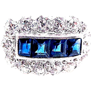 Art Deco 2.75 Carat Platinum Sapphire and Diamond Ring