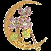 Art Nouveau Enamel, Diamond Crescent Brooch - 14K Gold