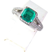 Beautiful 2.45 Carat Emerald and Diamond Ring, 18K White Gold