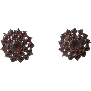 Garnet Cluster Earrings, 9K Gold - Victorian