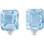 Exceptional 13.85 carat Aquamarine and Diamond Earrings, Platinum - Art Deco