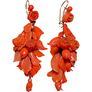 Antique Carved Mediterranean Coral Earrings, 18K