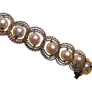 Pearl and 14K Gold Bracelet - Mid Century