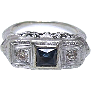 Art Deco 14K White Gold Sapphire and Diamond Ring