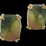 Fine Watermelon Tourmaline Earrings, 14K - Vintage