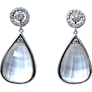 Fabulous Diamond  amd Rock Crystal Day-Night Earrings, 18K White Gold