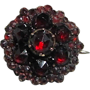 Antique Garnet Collar Pin - 9K Gold and Silver