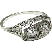 Art Deco Two Diamond Ring, 18K White Gold