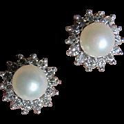 Fine Salt Water Pearl and Diamond Earrings - 18K