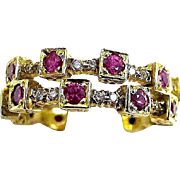 Early Ron Rizzo 18K  Ruby and Diamond Set Nesting Rings