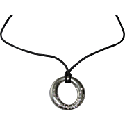 TIFFANY Diamond Set Silver Sevillana Pendant on Cord
