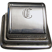 Unusual Roll Top Sterling Silver Double Ring Box - 1930's