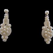 Fine Natural Seed Pearl Pendant Earrings - Circa 1820-1840, 14K