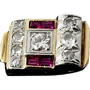 Art Deco Diamond, Ruby 18K Gold Ring, C 1925-1930