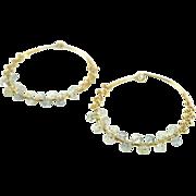 22k gold vermeil hoop earrings wrapped with Fluorite rondelles