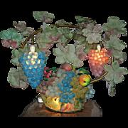 Impressive Large Czech Glass Grape & Fruit Lamp 1890-1915