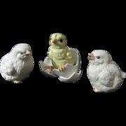 Vintage 3 Bisque Porcelain Chicks and Hatchling from Egg