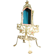 Small Vintage Brass Vanity Mirror - Ornate Art Nouveau style