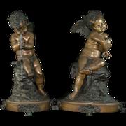 Remarkable Antique Pair of Bronze Angel Cherub Sculptures / Statues – Signed –   Large ...