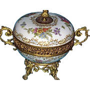 Fabulous 19th C Porcelain & Dore Bronze Coupe Hand-Painted  with Handles & Lid