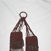 Eighteenth Century Victorian Miser Beaded Purse Bag, Brown with Cut Steel Fringe Beadwork