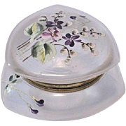 Elegant Victorian Hinged Satin Glass Dresser box – Hand Painted Enamel Flowers