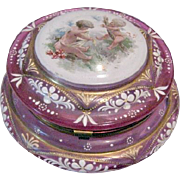 Magnificent Moser, Cranberry Glass Dresser Jar with lots of beautiful Enamel Art