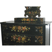 Rare Victorian Hand Painted Dresser Matching - Mirror - Glove box Mother Of Pearl