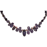 Tanzanite Iolite Pink Tourmaline Briolette Bali Sterling Silver Necklace
